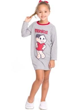 camisola manga longa infantil feminina turma monica mescla evanilda 30040011