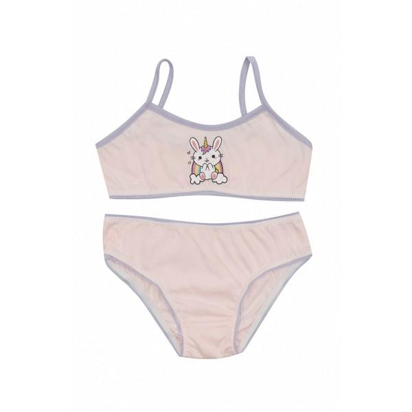 conjunto top calcinha infantil feminina bichinhos rosa evanilda 22010028