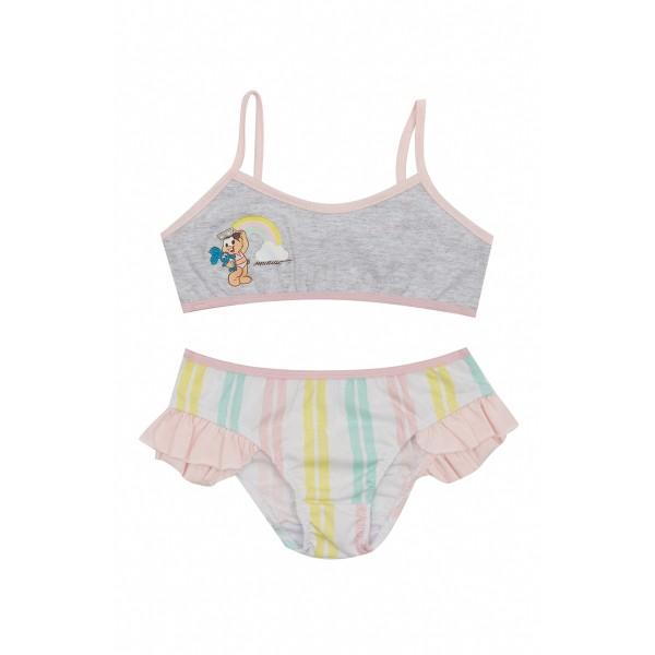 conjunto top calcinha infantil feminina turma monica mescla evanilda 22040043