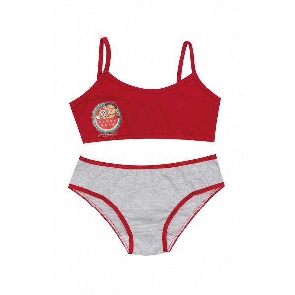 conjunto top calcinha infantil feminina turma monica vermelho evanilda 22040041