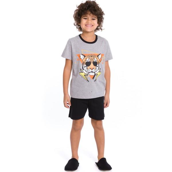 pijama curto infantil masculino cool tiger mescla evanilda 52010021
