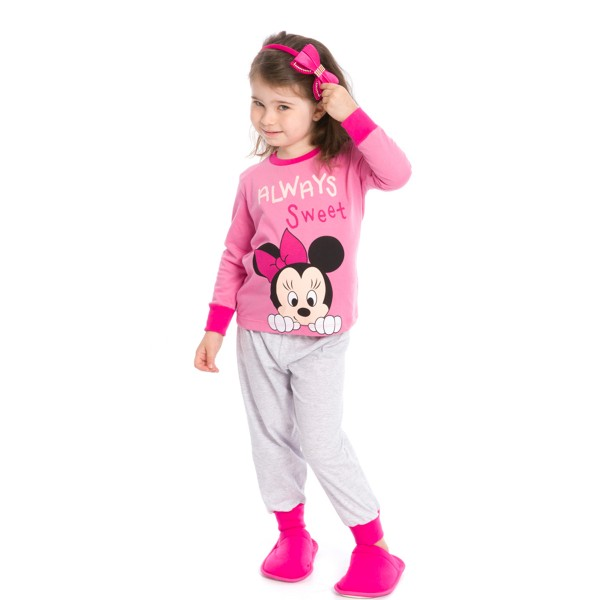 pijama longo infantil feminino disney rosa evanilda 40030005