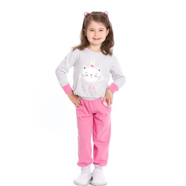 pijama longo infantil feminino kitty unicorn mescla evanilda 40010005