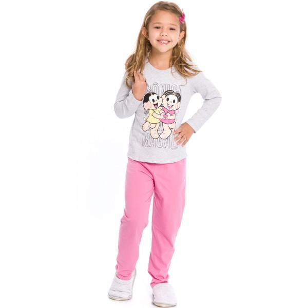 pijama longo infantil feminino turma monica mescla evanilda 24040062