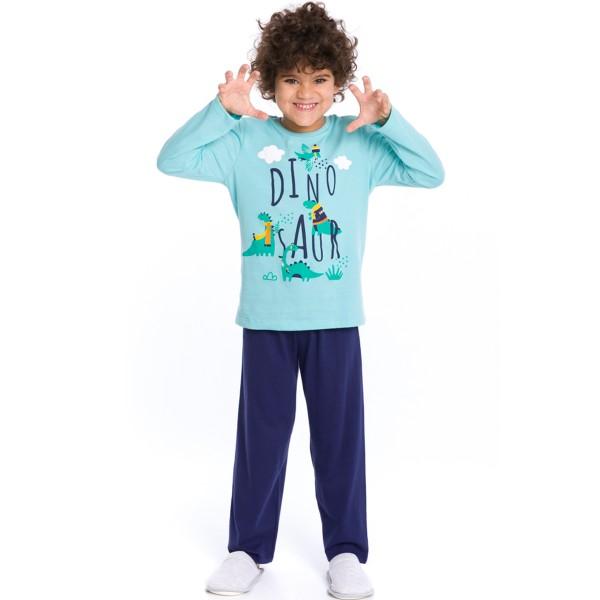 pijama longo infantil masculino dinossauro azul evanilda 27010044