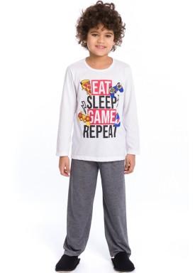 pijama longo infantil masculino game branco evanilda 27010042