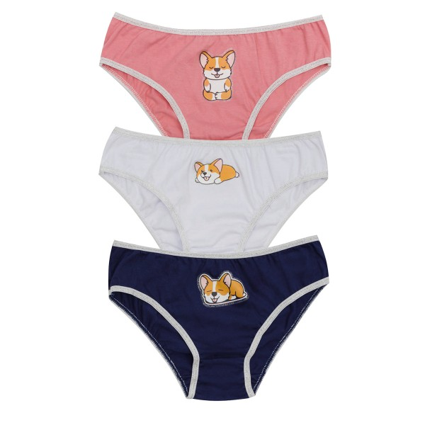 kit calcinha 3pc s infantil feminina dogs evanilda 01010065