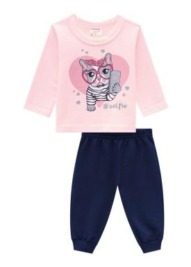 conjunto moletinho bebe feminino selfie rosa claro brandili 54277