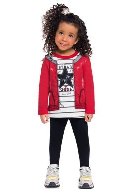 conjunto moletom infantil feminino star vermelho brandili 54280