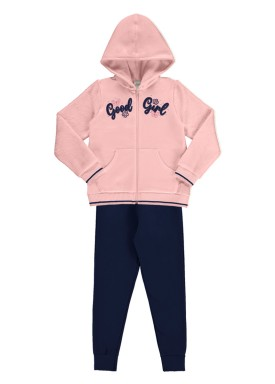 conjunto moletom infantil juvenil feminino good girl salmao alakazoo 67558