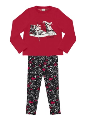 conjunto moletom infantil feminino fashion vermelho alakazoo 11376