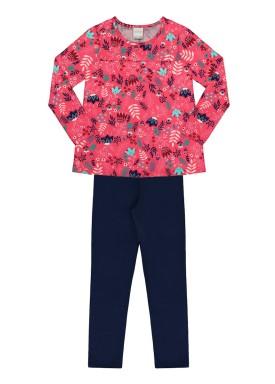 conjunto manga longa infantil feminino folhas rosa alakazoo 11377
