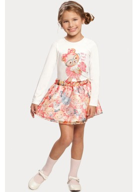 conjunto manga longa saia infantil feminino ursinho rosa alakazoo 11382 1