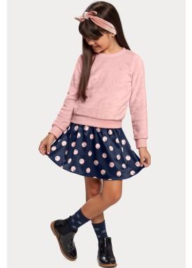 conjunto pelo saia infantil feminino rosa alakazoo 11386 1