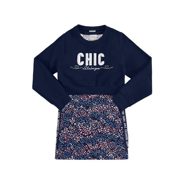 conjunto vestido blusao infantil feminino chic marinho alakazoo 67524