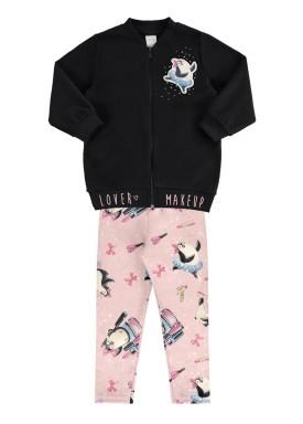 conjunto jaqueta infantil feminino makeup preto alakazoo 67482