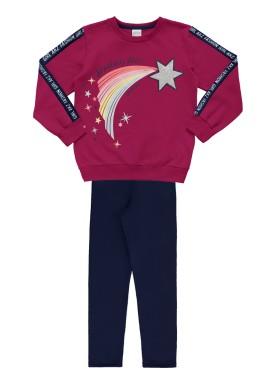 conjunto moletom infantil feminino star violeta alakazoo 67538