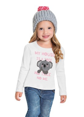 blusa manga longa infantil feminina cool coala branco fakini 1038 1