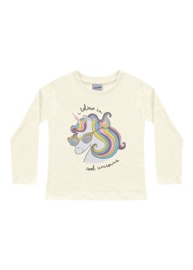 blusa manga longa infantil feminina cool unicorns marfim fakini 1028