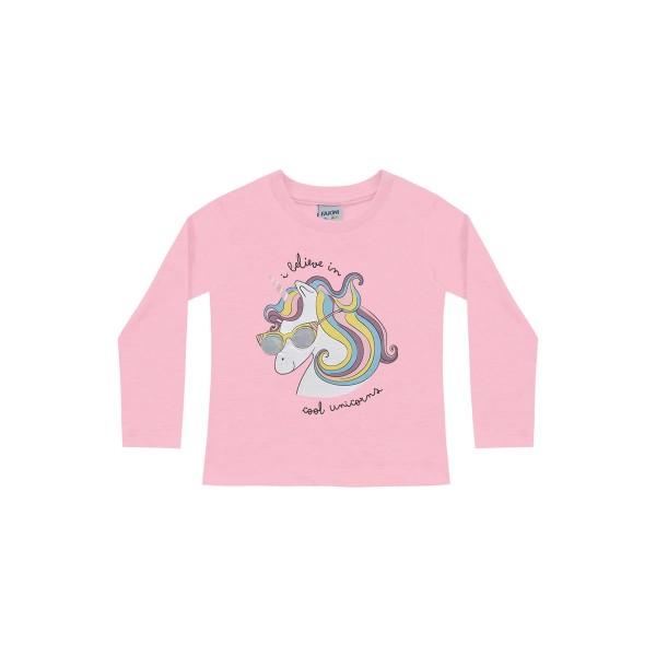 blusa manga longa infantil feminina cool unicorns rosa fakini 1028