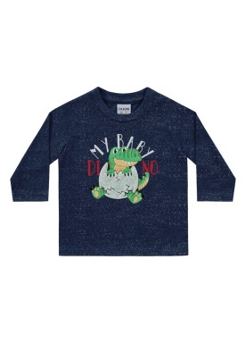 camiseta manga longa bebe masculina baby dino marinho fakini 1206