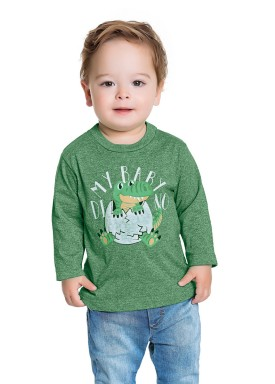 camiseta manga longa bebe masculina baby dino verde fakini 1206 1