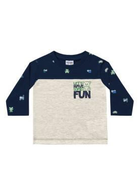 camiseta manga longa bebe masculina some fun marinho fakini 1215