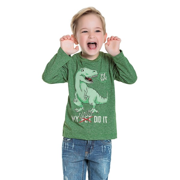 camiseta manga longa infantil masculina dino verde fakini 1217 1