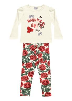 conjunto manga longa infantil feminino magnific marfim fakini 1055
