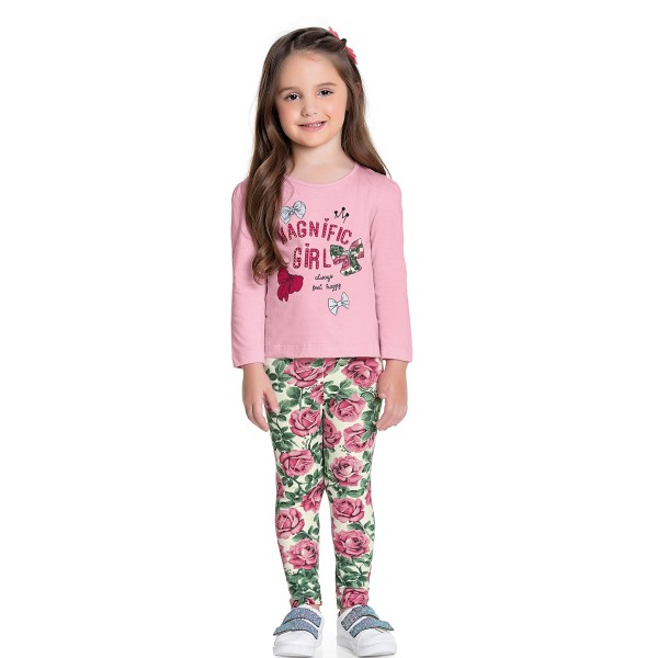 conjunto manga longa infantil feminino magnific rosa fakini 1055 1