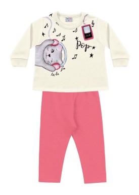 conjunto moletom bebe feminino music marfim fakini forfun 1153