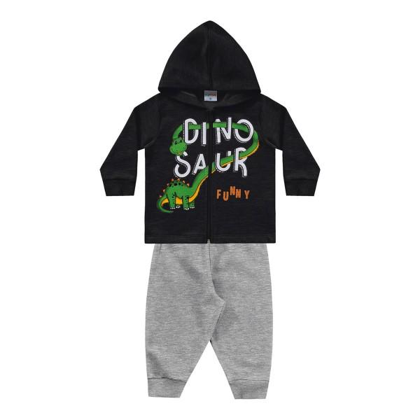 conjunto moletom bebe masculino dinosaur preto fakini forfun 1175