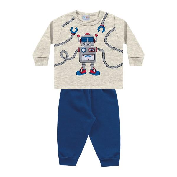 conjunto moletom bebe masculino robo mescla fakini forfun 1178