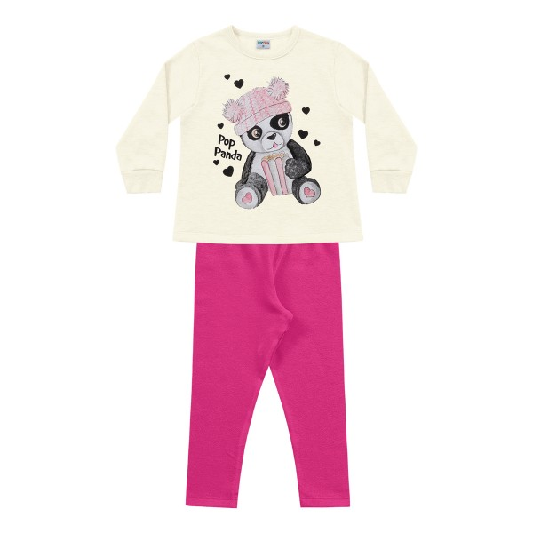 conjunto moletom infantil feminino pop panda marfim fakini forfun 1158