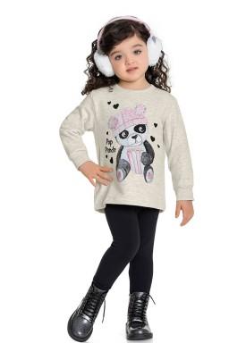 conjunto moletom infantil feminino pop panda mescla fakini forfun 1158 1