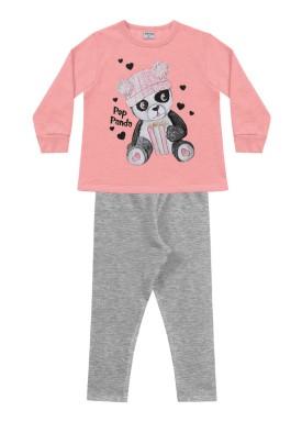 conjunto moletom infantil feminino pop panda rosa fakini forfun 1158