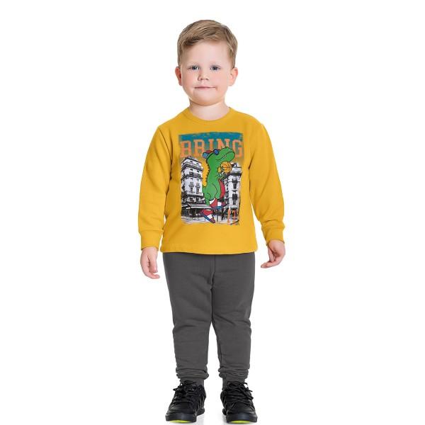 conjunto moletom infantil masculino bring it amarelo fakini forfun 1184 1