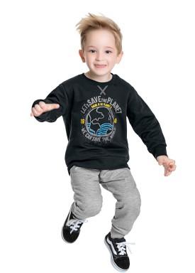 conjunto moletom infantil masculino save the world asfalto fakini 1232 1