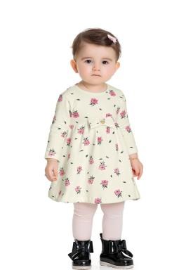 vestido manga longa bebe feminino rosas marfim fakini 1009 1