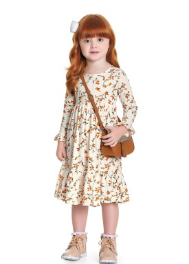 vestido manga longa infantil feminino flores marfim fakini 1053 1
