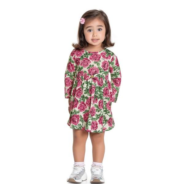 vestido manga longa infantil feminino roses rosa fakini 1057 1