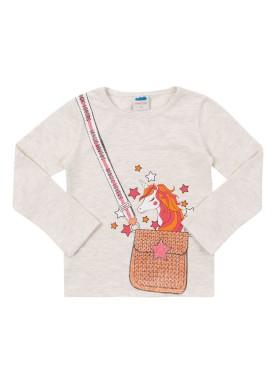 blusa manga longa infantil feminina unicornio mescla marlan 22566