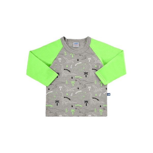 camiseta manga longa bebe masculino dinos verde marlan 20452