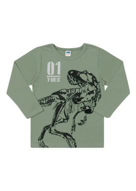 camiseta manga longa infantil masculina trex verde marlan 24683
