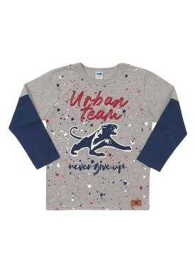camiseta manga longa infantil masculina urban team mescla marlan 24695