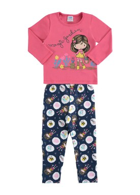 conjunto manga longa bebe feminino magic garden rosa marlan 20480
