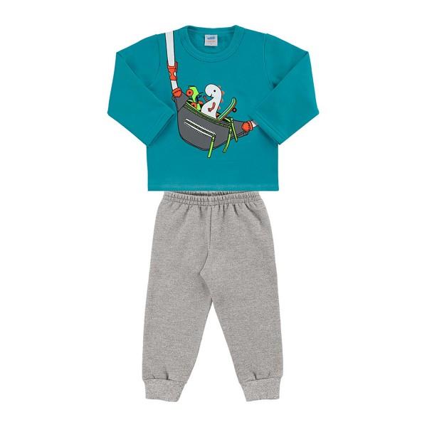 conjunto moletom bebe masculino pochete azul marlan 20454