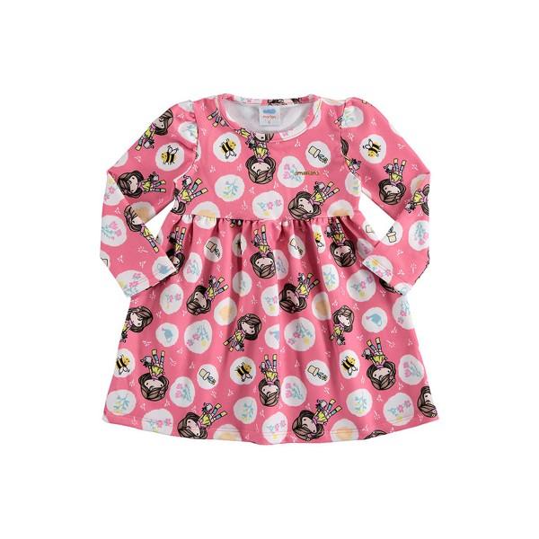 vestido molecotton bebe feminino jardim rosa marlan 20481