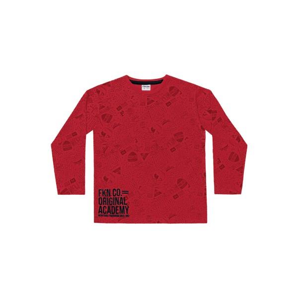 camiseta manga longa infantil masculina academy vermelho fakini 1250