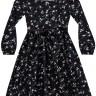 vestido manga longa infantil feminino flores preto fakini 1100 2